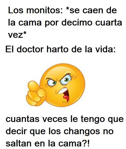 Cuando uno de esos monitos se cae, al menos el doctor tiene con que subsistir: :yaoming: - meme