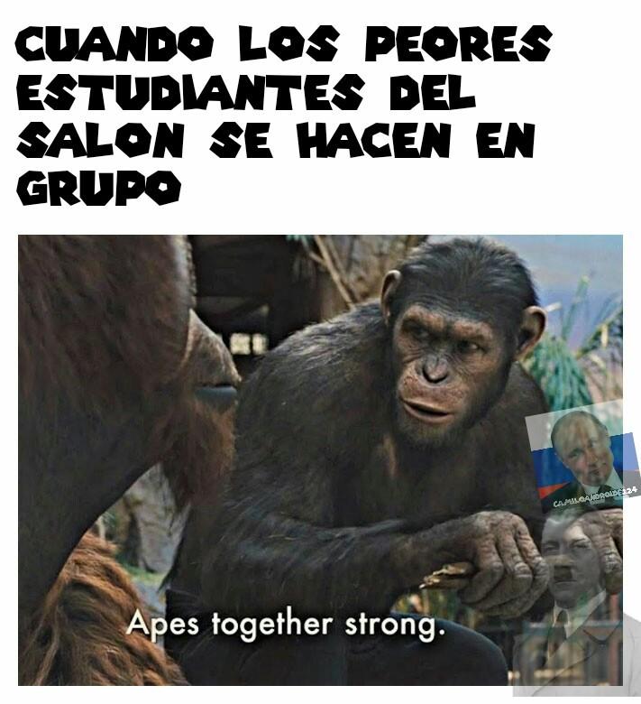 La plantilla dice Simios juntos fuertes - meme