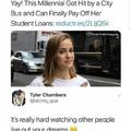 Millennial got hit by a city bus and can finallky pay off her student loans