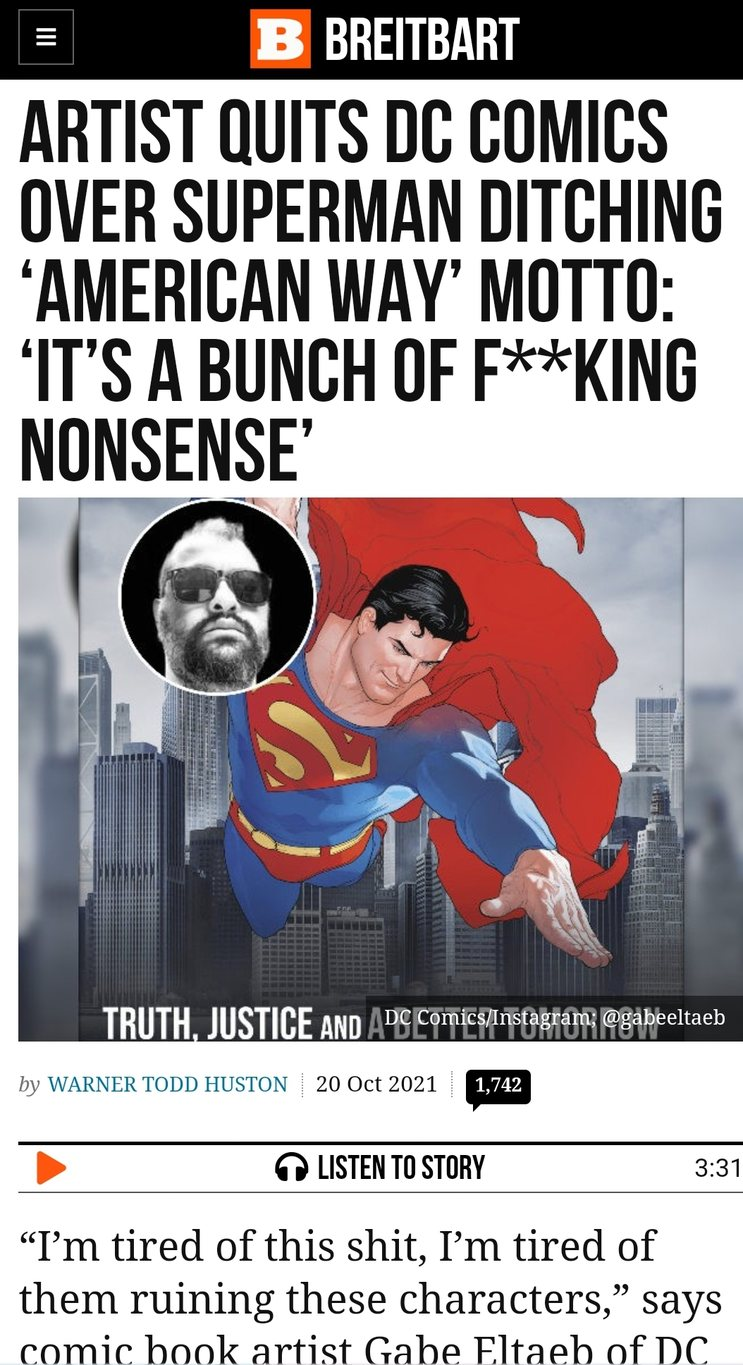 Artist Quits DC Comics over Superman Ditching 'American Way' Motto: 'It's a Bunch of F**king Nonsense' - meme