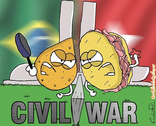 Coxinha vs Sanduíche de Mortadela - meme