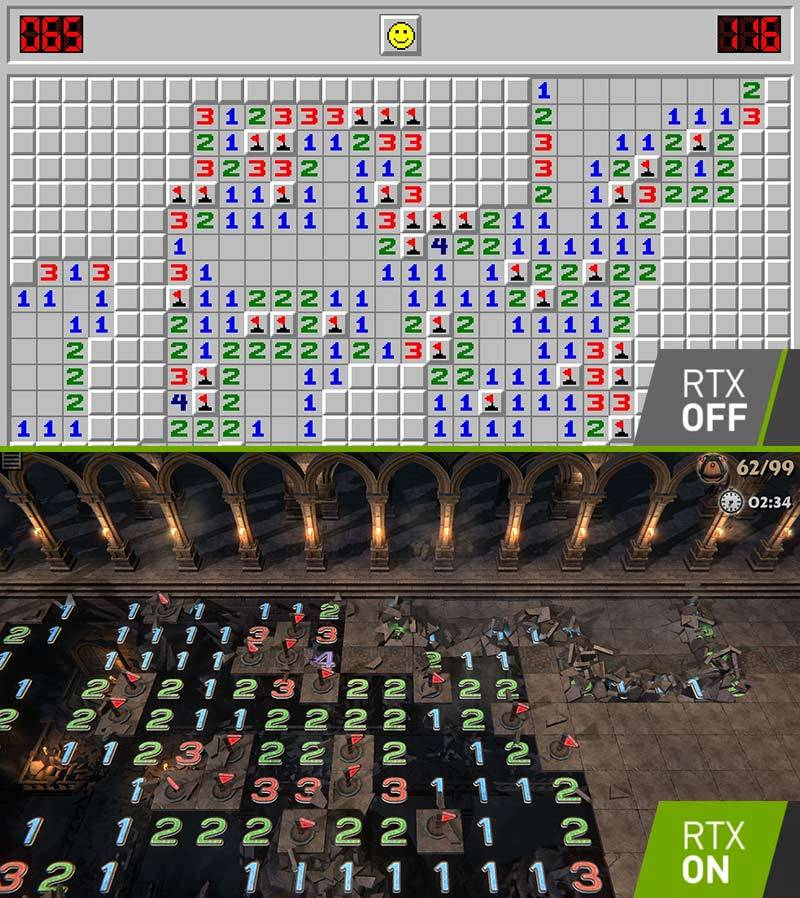 Minesweeper RTX Off / RTX On - meme