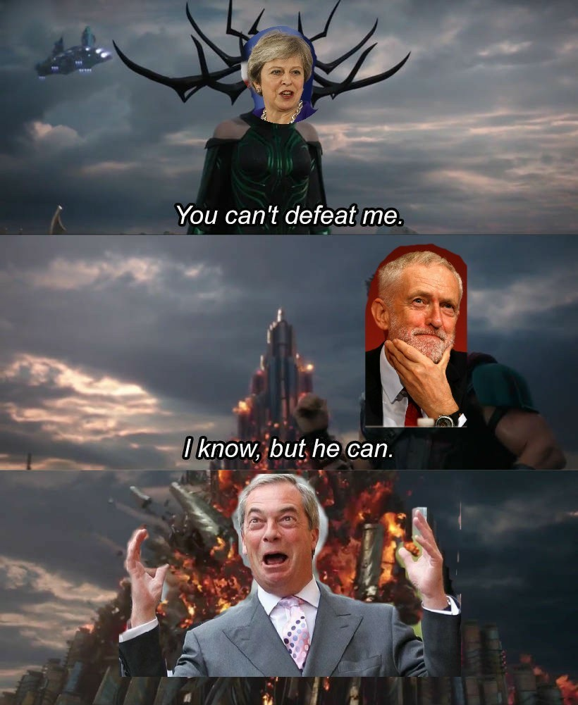 May, Corbyn, Farage . British politics - meme