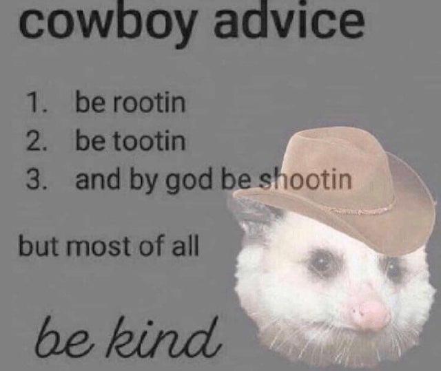 Listen to the cowboy advice. - meme