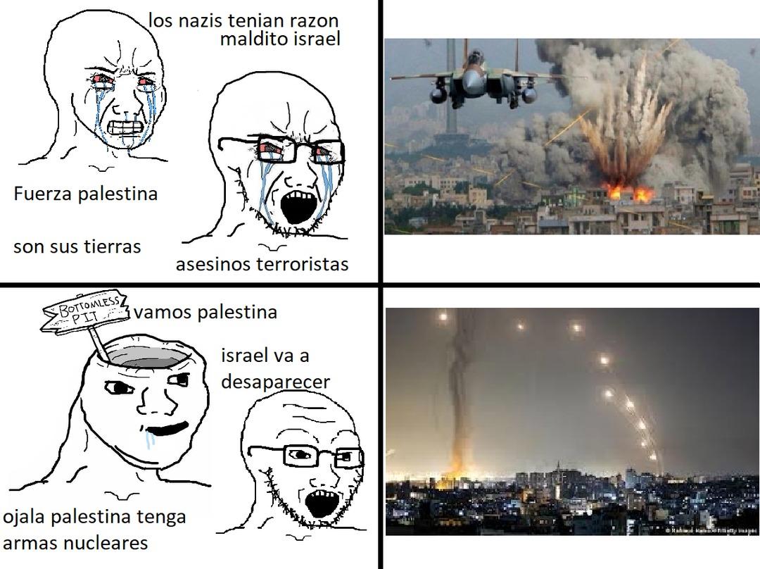 hay gente estupida que desea que palestina tenga armas nucleares y que consiga armas rusas sin saber como lo pagaran - meme