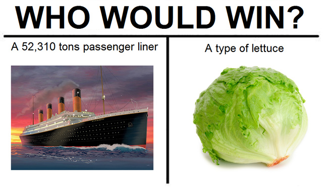 Iceberg Lettuce and Titanic - meme