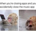 When you accidentally close the music app