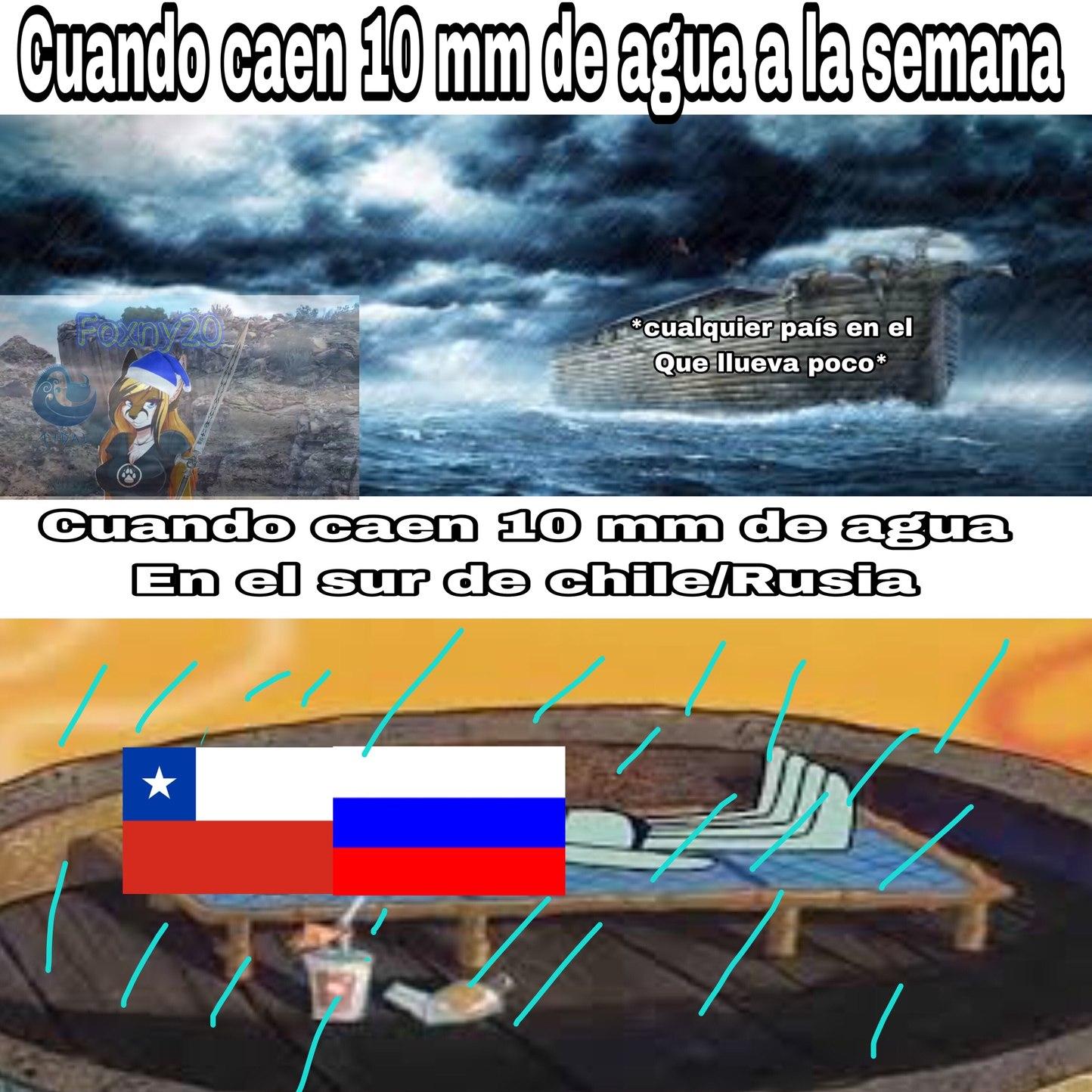 se me ocurrió mientras acá en mi ciudad caen 40 mm de agua - meme