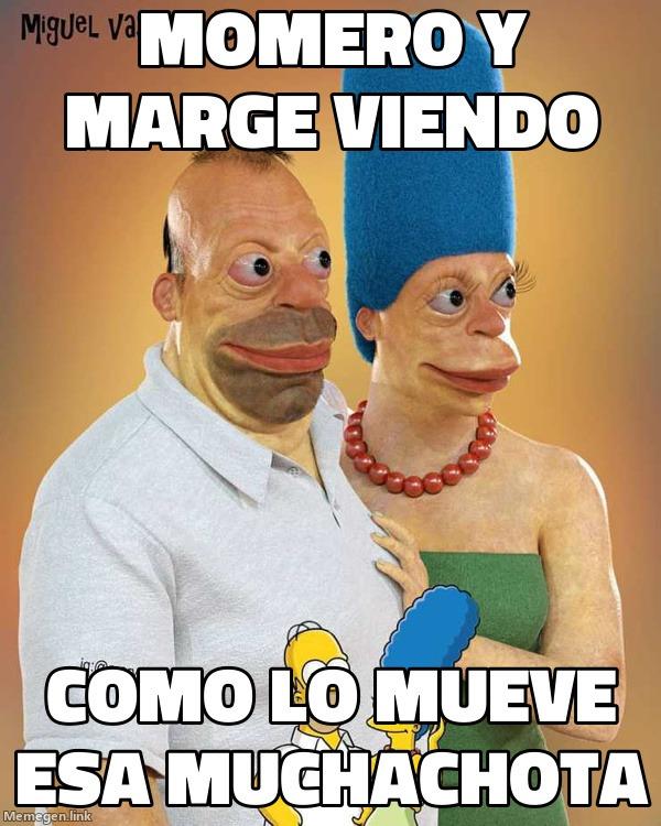 HOMERO Y MARGE VIENDO COMO LA MUEVE ESA MUCHACHOTA - meme