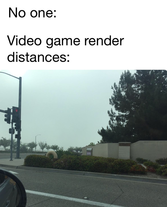 Video game render distances - meme