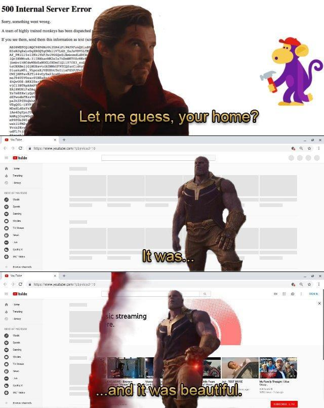 youtube outage - meme
