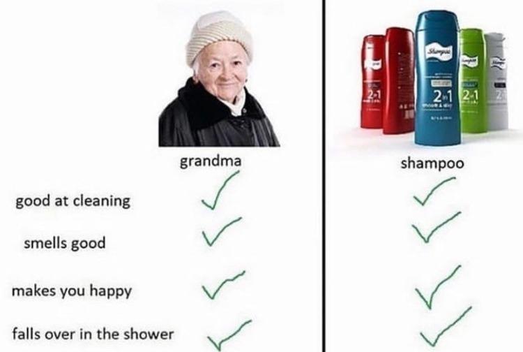 falls over in the shower - meme