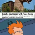 Greeks apologise with huge horse