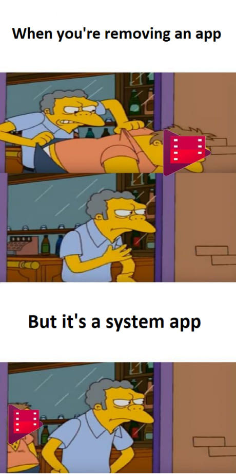 Uninstalling Android apps - meme