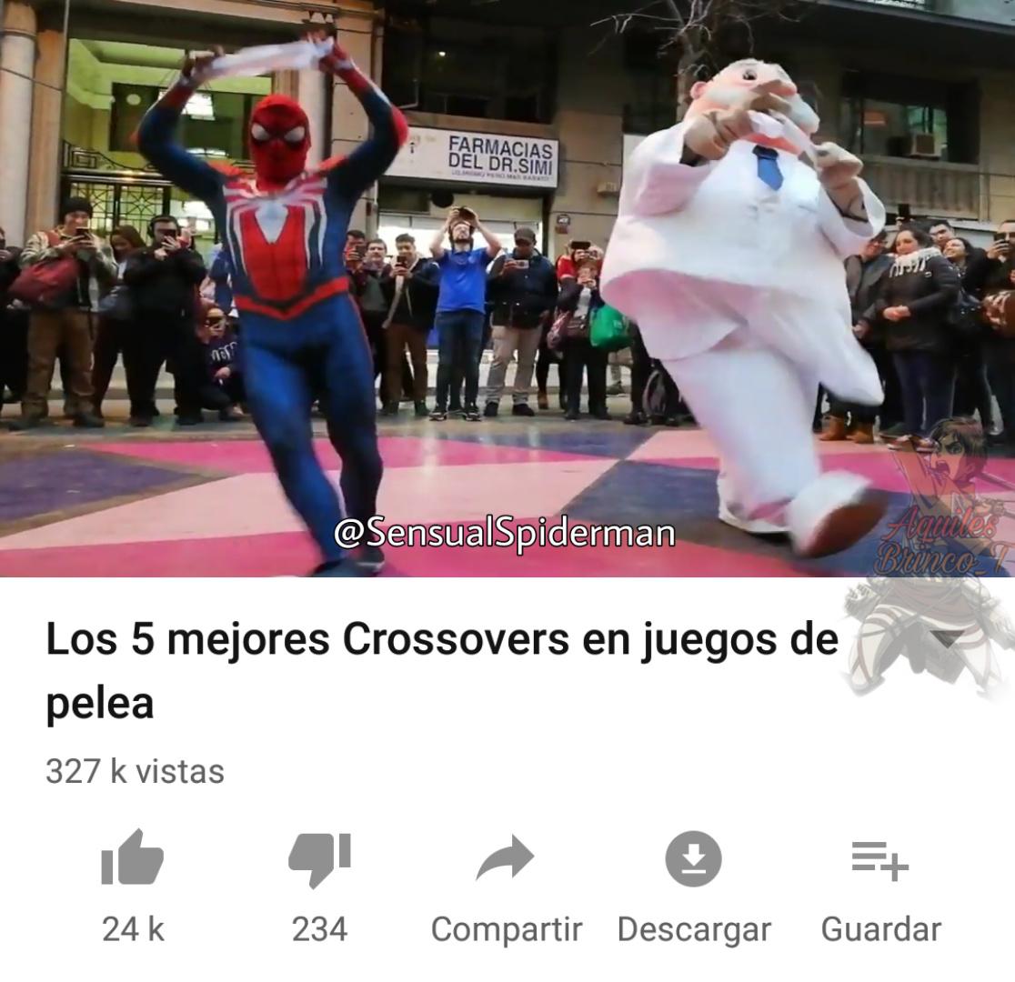 Canal de youtube: Estupido y sensual spider man. Su historia: atrapo a un delincuente en chile con su dizfras de spider man - meme