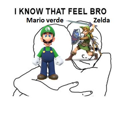 Mario Verde y Zelda - meme