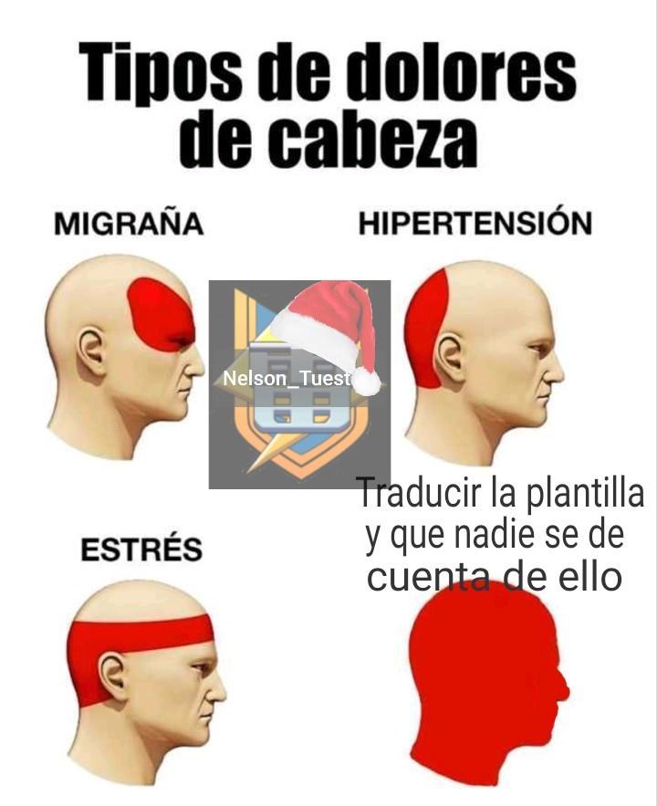 Tipos de dolores de cabeza - meme