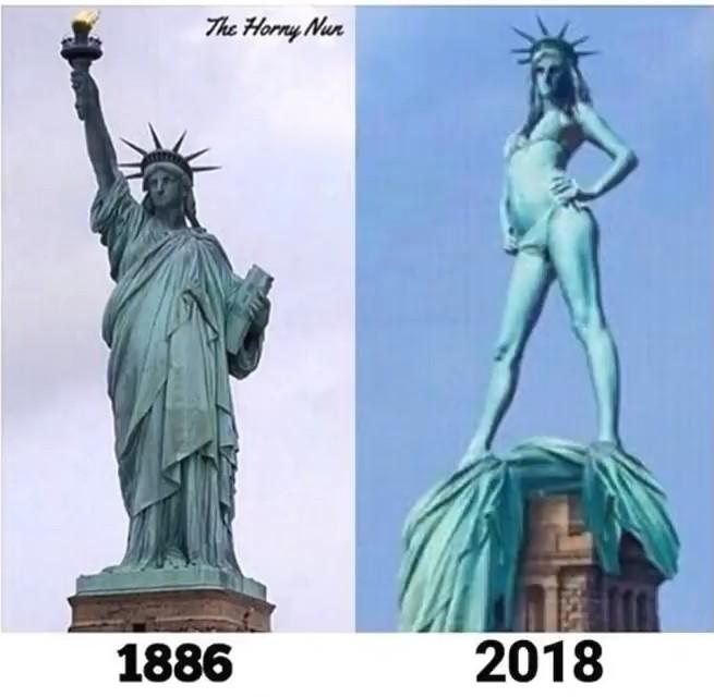 Lady liberty looking nice - meme