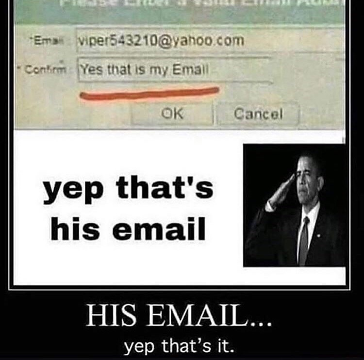 I'm pretty sure that's his email - meme