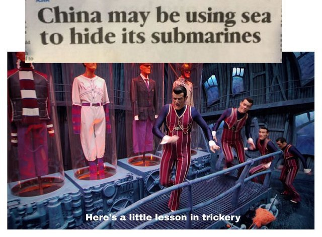 China may be using sea to hide its submarines - meme