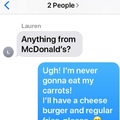 carrots or cheeseburger
