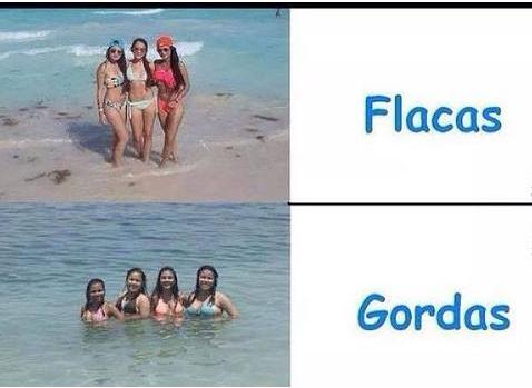 flacas vs gordas - meme