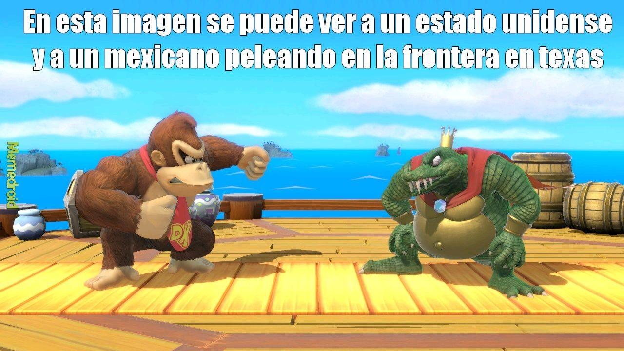 Donkey kong el unico mexicano en un estado fisico decente - meme