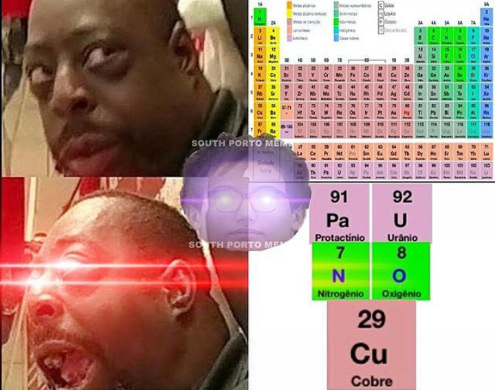 Protactínio Urânio Nitrogênio Oxigênio Cobre - meme