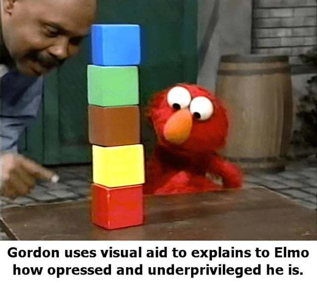 Gordon uses visual aid to explain to Elmo how opressed and underpivileged he is - meme