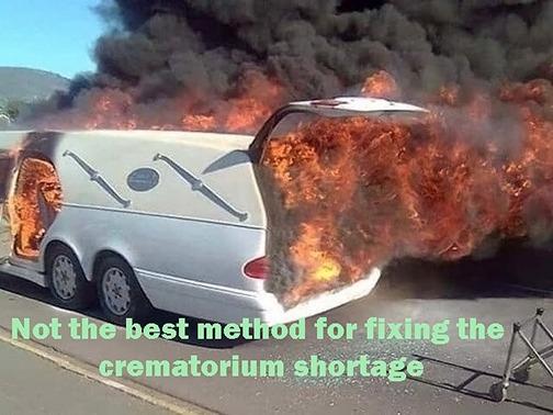 Rolling cremation service - meme