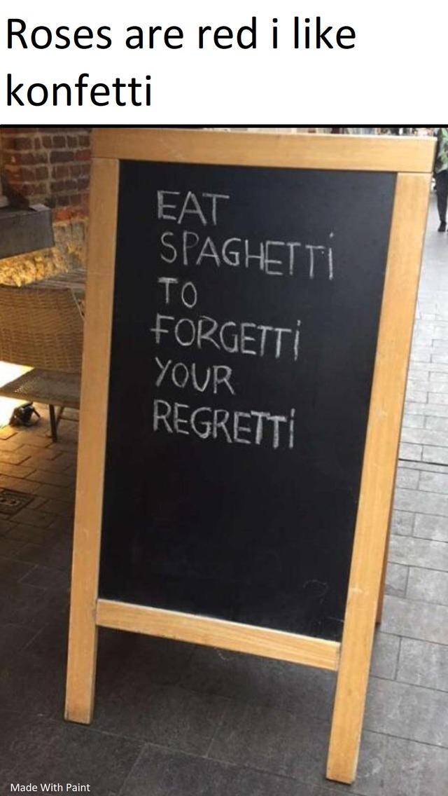 Eat spagetti - meme