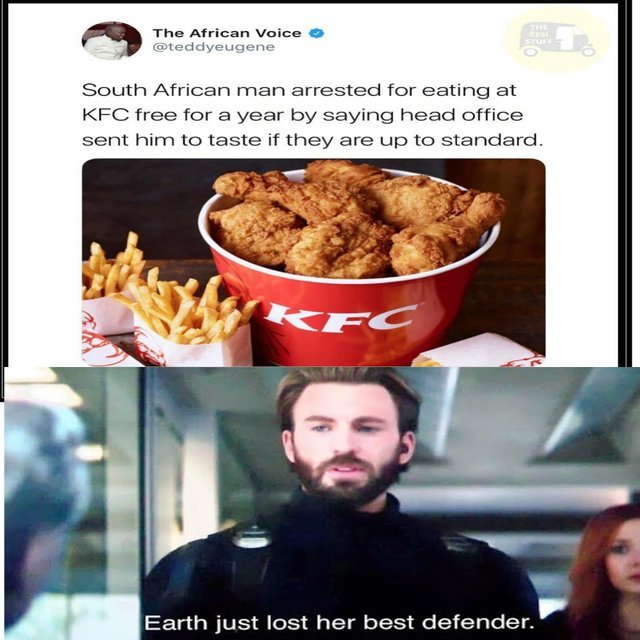 Man arrested for eating at KFC free for a year by saying head office sent him to taste if they are up to standard - meme