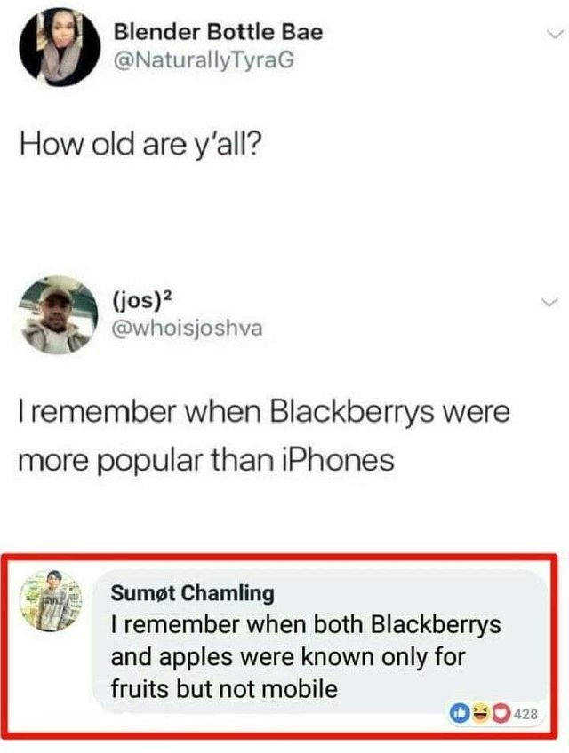 Remember when Blackberrys and apples were known only for being fruits? - meme