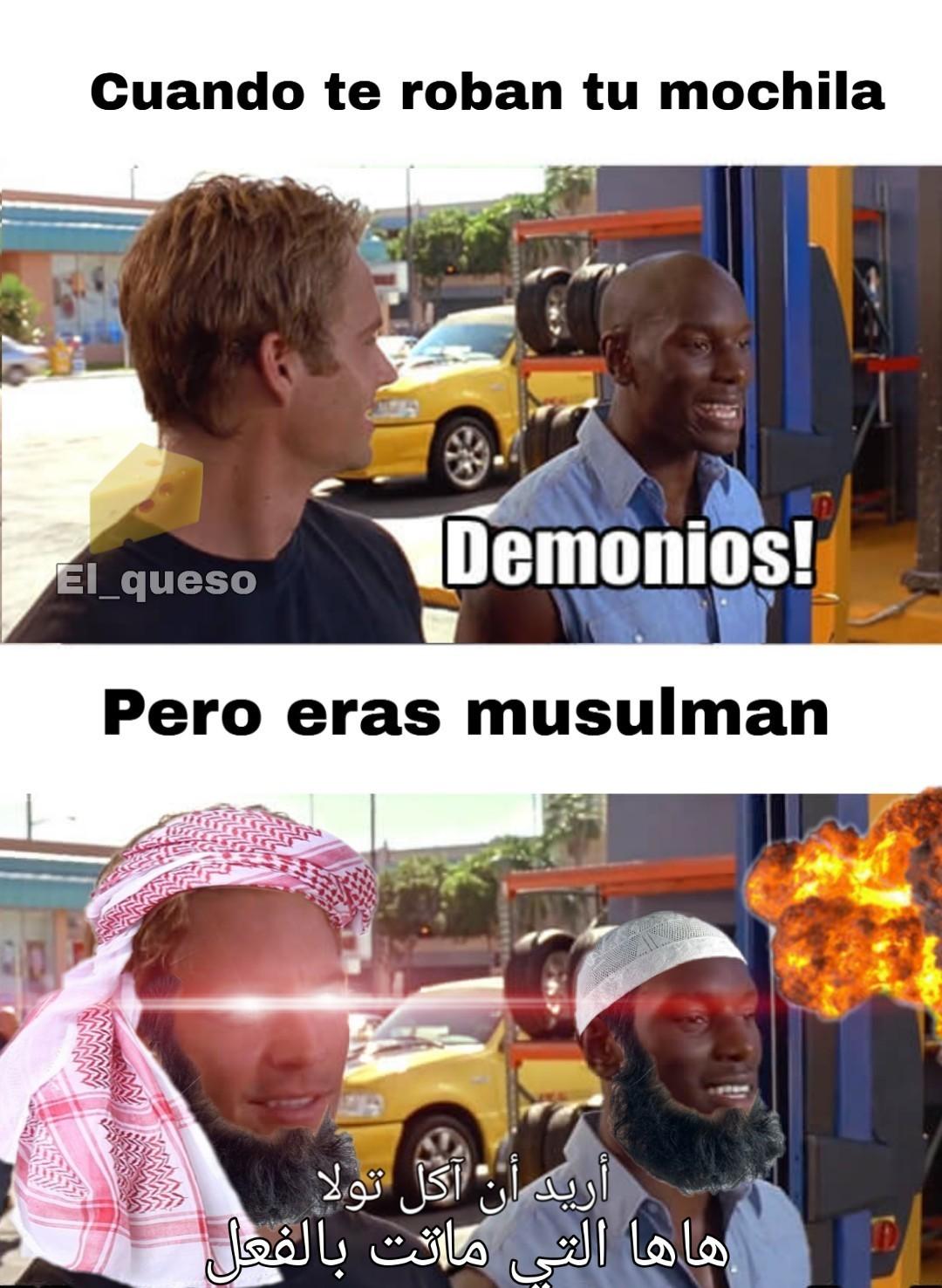 No hay que molestar a los musulmanes, explotan con facilidad - meme