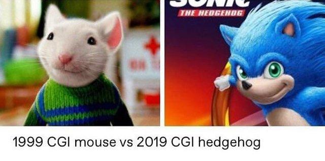 1999 CGI mouse vs 2019 CGI hedgehog - meme