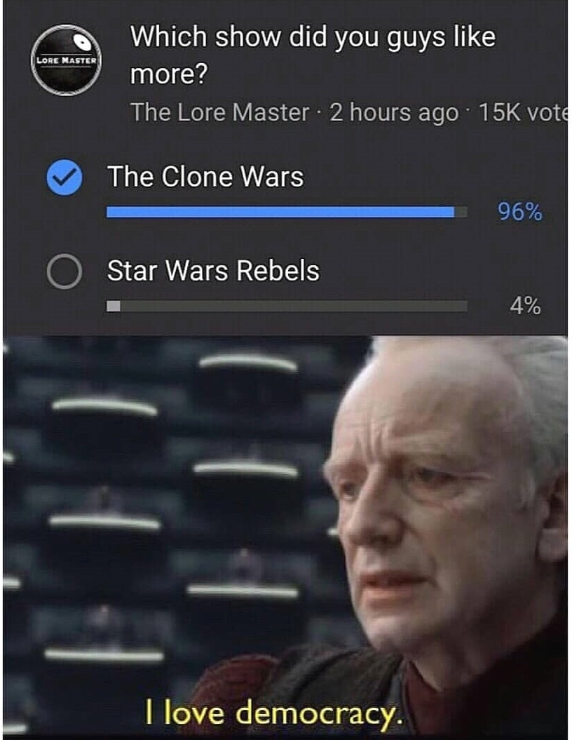 Clone wars>rebels - meme