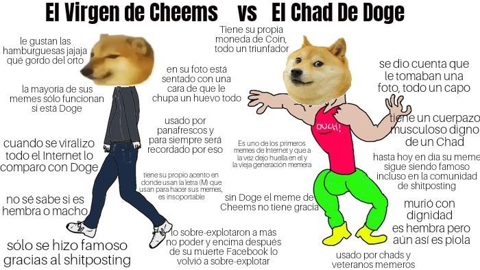 LEAN EL TÍTULO!!!! Hice dos memes de sobre esto uno en donde Cheems es el Chad y el otro dónde Doge es el Chad, que para que el meme funcionen completo,podrían aceptarlo porfa