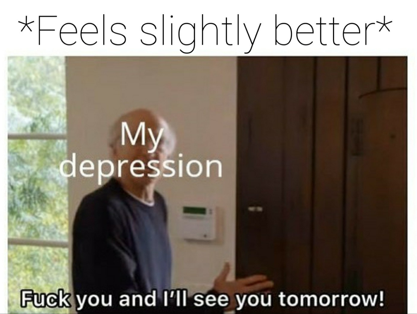 I'm trying to love my depression so it leaves me too - meme