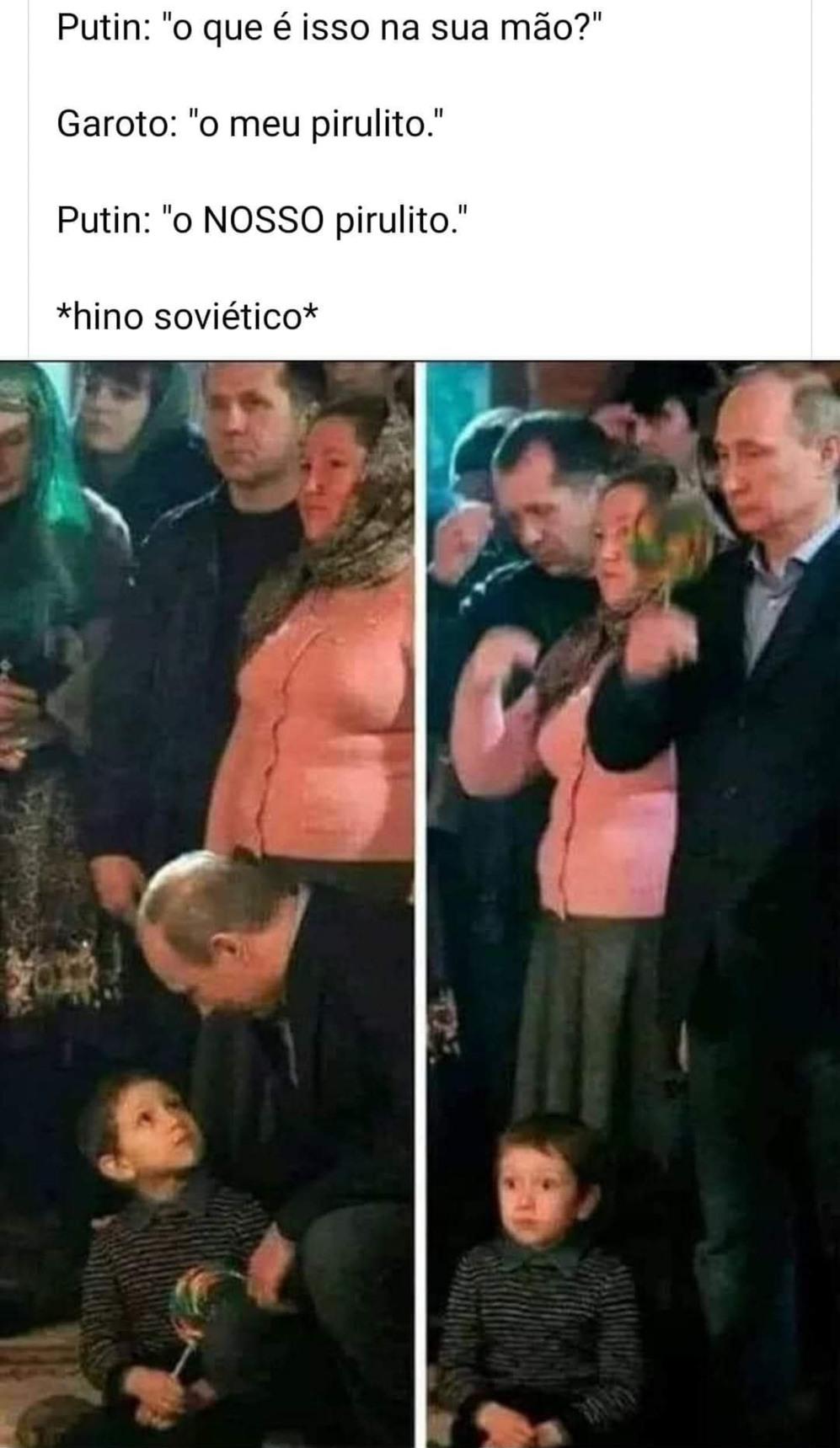 Putin puto da vida roubando doce de criança, é uma imagem proibida em 1 pais, a Rússia. Kkkk - meme