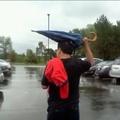 Y U not use umbrella when it raining?