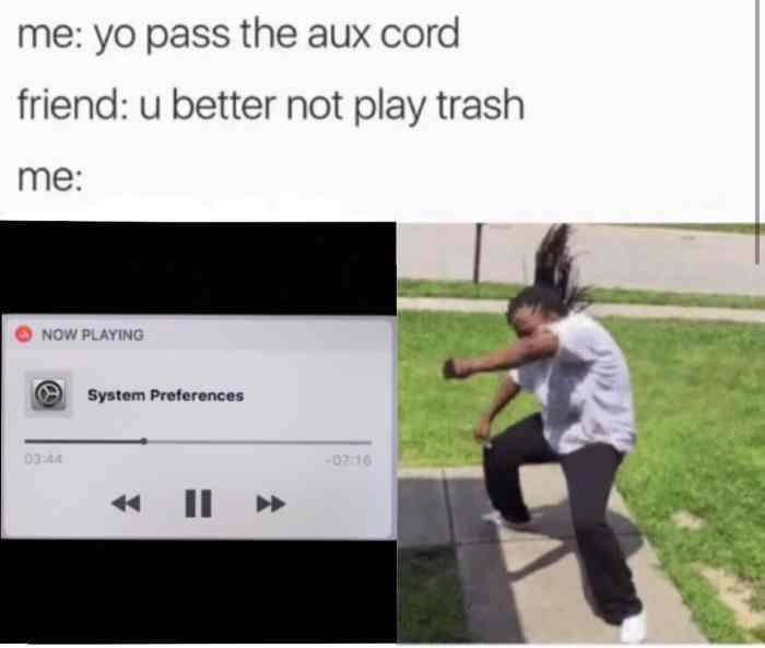 Pass the aux cord I'll follow you back - meme