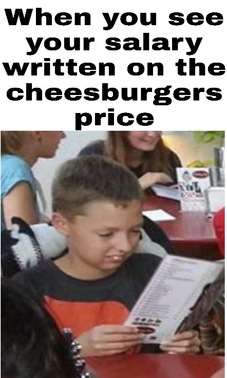 When you see your salary written on the cheeseburgers price - meme
