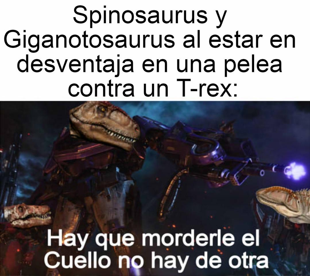 Los fans del T-rex estarán llorando y chillando por la pelea con el Giganotosaurus. - meme