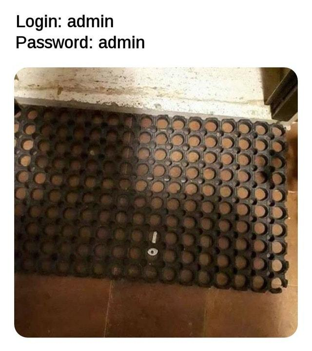 Login: admin, Password: admin - meme