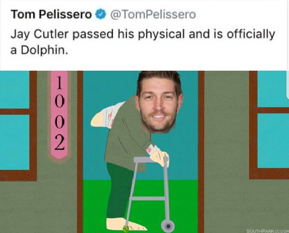 Jay Cutler, American Football quarterback for the Dolphins - meme