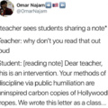 Teacher sees students sharing a note
