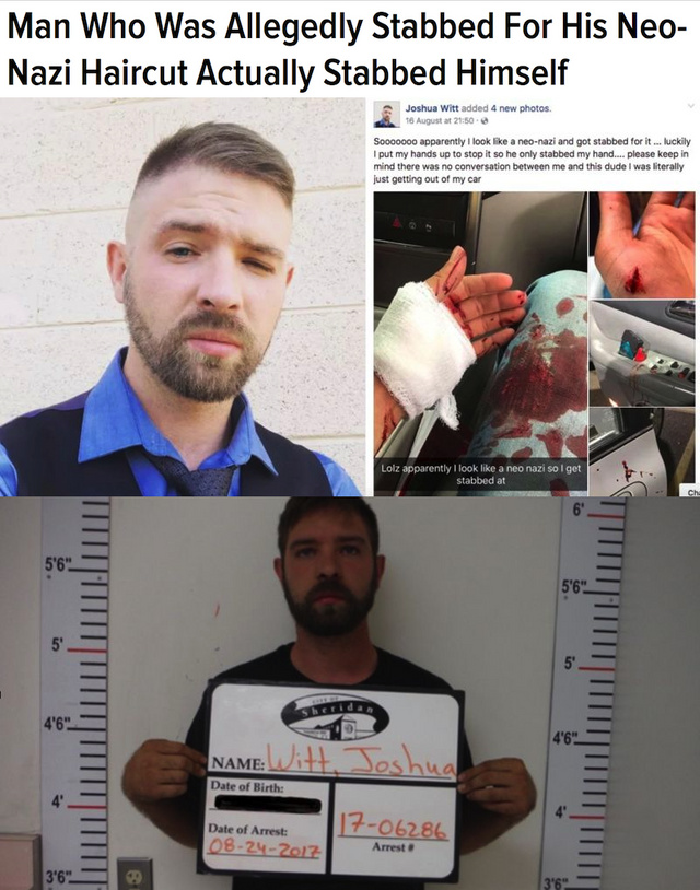 Man who was allegedly stabbed for his neo nazi haircut actually stabbed himself - meme