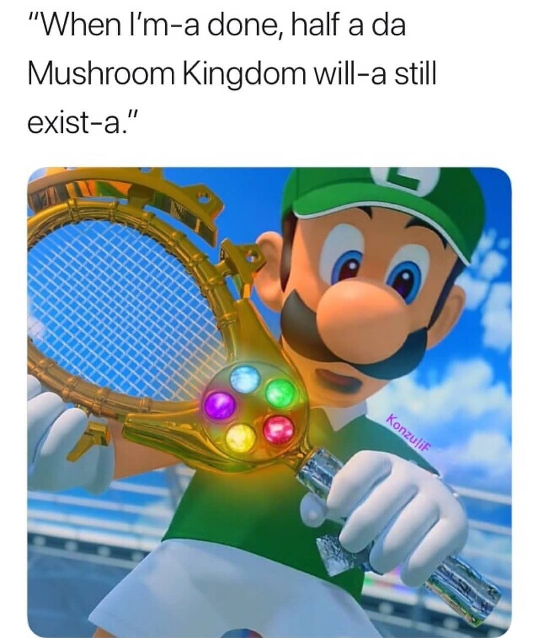 Luigi out for blood - meme