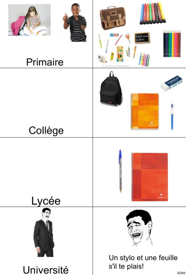#les affaires scolaires ! - meme