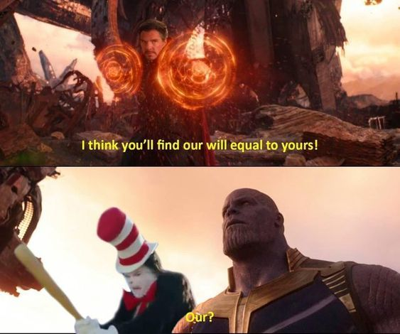 cat in the hat beat thanos with a bat - meme
